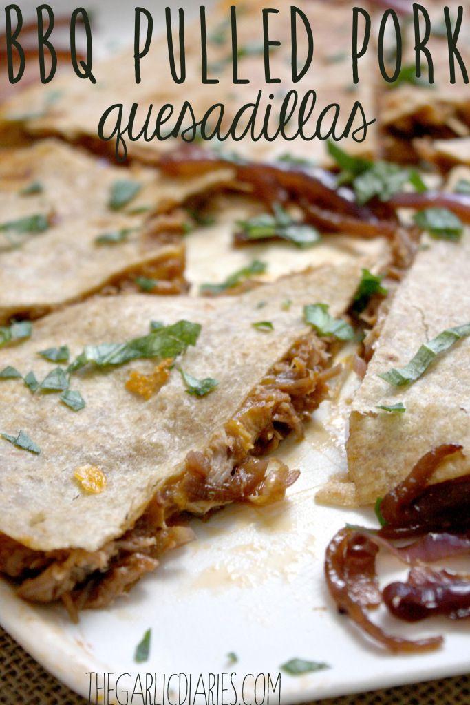 BBQ Pulled Pork Quesadillas -- TheGarlicDiaries.com