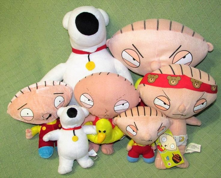 "Family GUy Plush Lot of 7 BRIAN & STEWIE Stuffed Dolls 6"" to 14"" TV Characters #assorted"