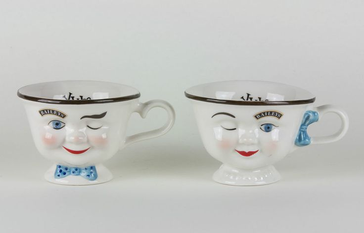 Set of Bailey s Irish Cream Winking Faces Boy And Girl Coffee Cups   YUM