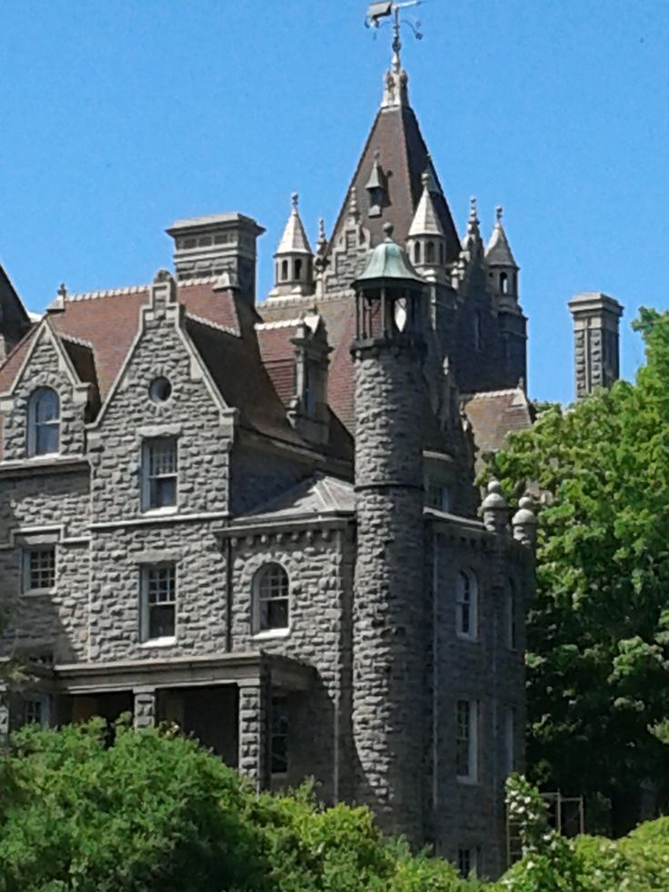Boldt Castle- A beautiful estate in the 1000 Islands full of romance and heart break. Open to the public for tours May through to October. Get to the castle by boarding one of the many Boat Cruise companies on both sides of the river. Visit http://ganboatline.com/ to book the 5 hour tour, offering a full tour of the 1000 Islands region and a 2 hour stop at World Famous Boldt Castle.