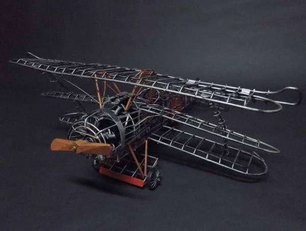 ドイツ 空軍 フォッカー ブリキ 飛行機 ビンテージ オブジェ_画像1