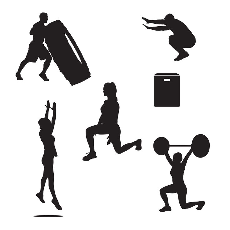 Set #2 of cross-fit and exercise icons featuring tire lift, box jumps, jumps, lunge, and lunge press.