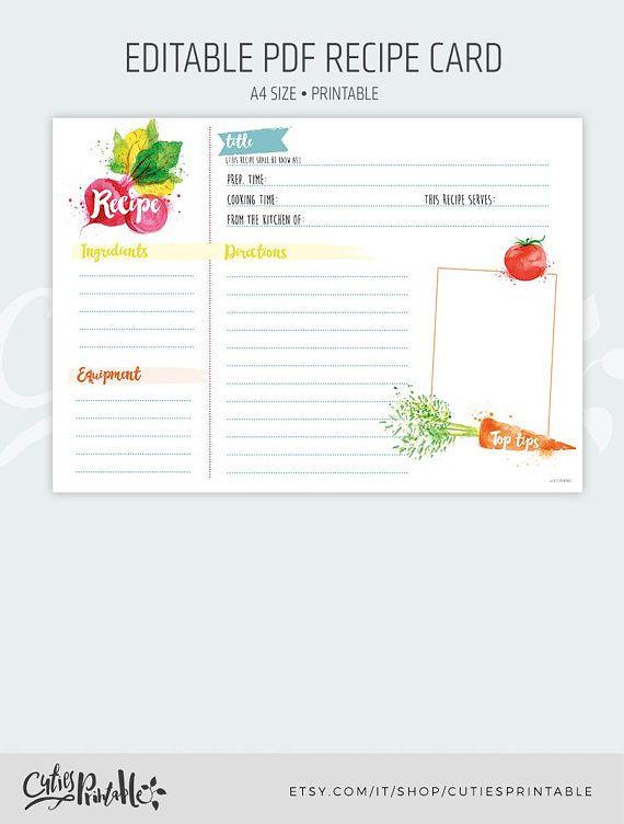 recipe card shower kitchen editable pdf instant download recipe a4
