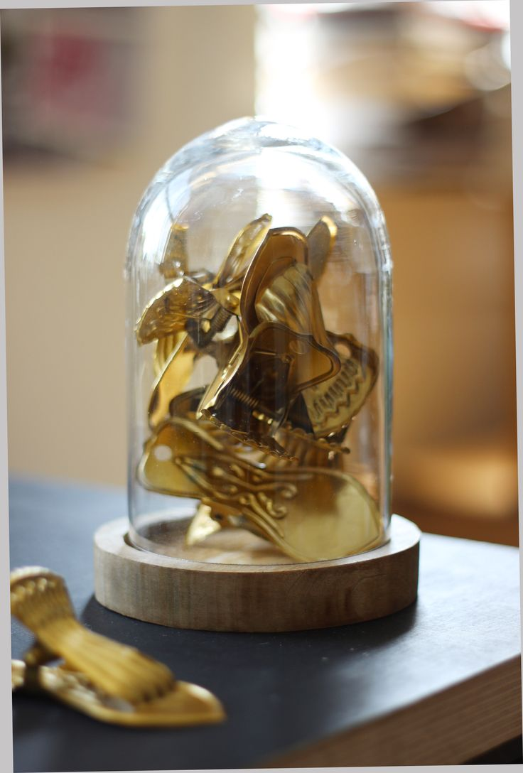 Small bell jar full of shiny gold clips http://www.aprilandthebear.com/home-accessories/small-glass-dome-1