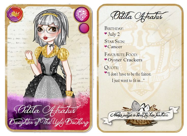 ever after high | Ever After High: Odila Character Card by Fireflowermaiden