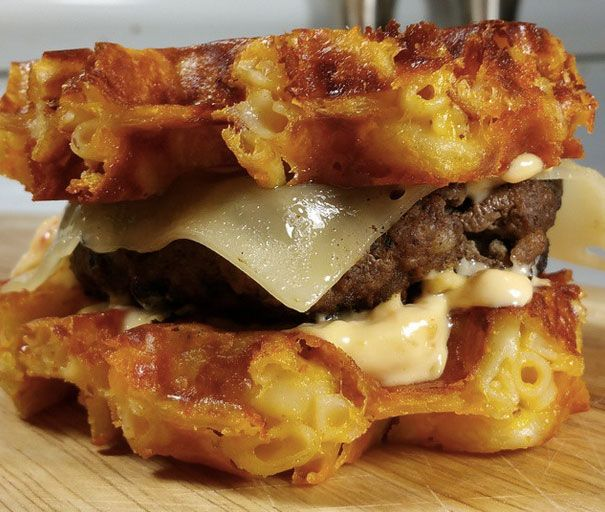 Waffle Mac and Cheese burgers.... they sound and look delicious!