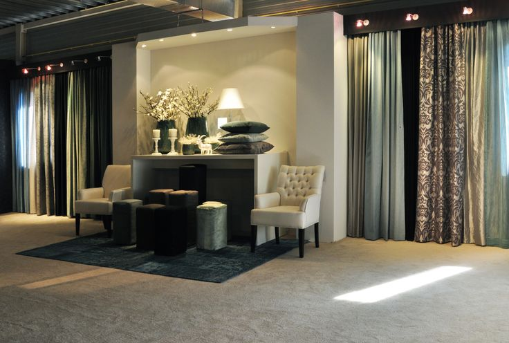Curtains and upholsteries display in the new kobe showroom for Curtain display ideas