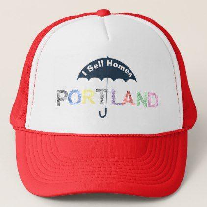 Portland Real Estate Homes Red Baseball Cap Hat - accessories accessory gift idea stylish unique custom