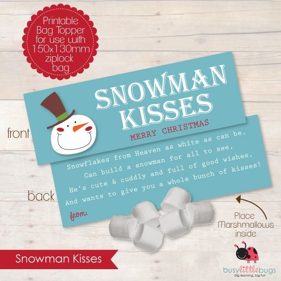 "christmas treat bag toppers | Printable ""Snowman Kisses"" bag toppers by Busy Little Bugs! Just add ..."