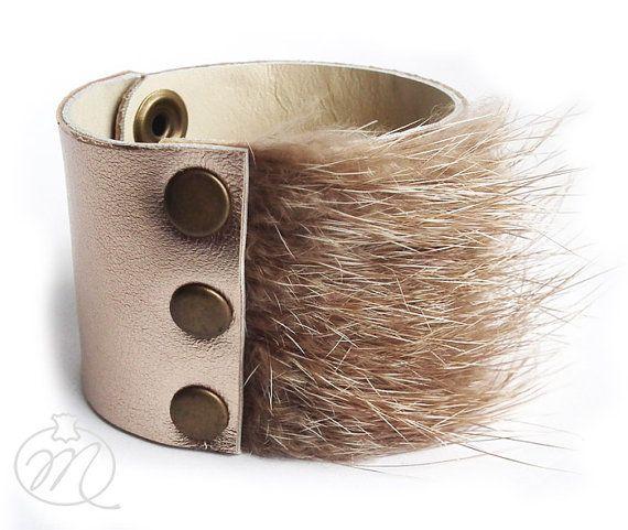Leather bracelet golden with fur by Mikashka on Etsy, zł39.00