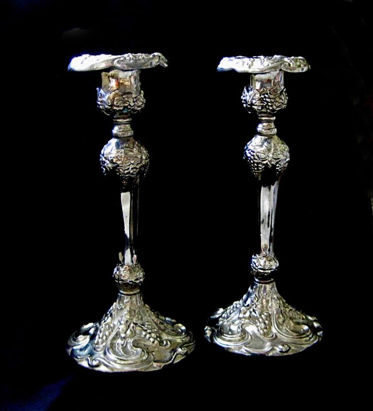 Godinger Silver Candlesticks, Silverplate, Art Nouveau Style, Ornate, Vintage Candle Holders, Home Decor by SharetheLoveVintage on Etsy
