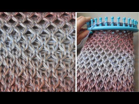 poncho maken met een drop stitch op breiring of breiraam - YouTube