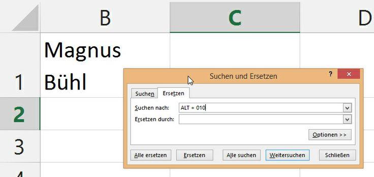 Microsoft Excel - Zeilenumbruch in Zellen entfernen - Magnus Bühl