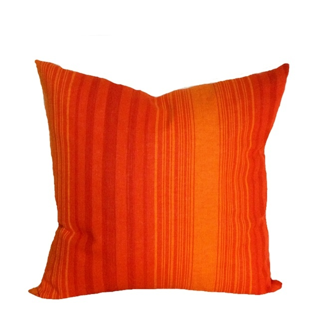 Cushion Cover Vintage Modern 1970s Retro Orange Throw Pillow , Organic Denim 18""