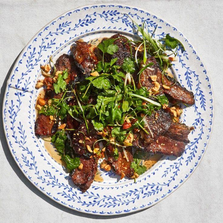 Grilled Brisket with ScallionPeanut Salsa Recipe