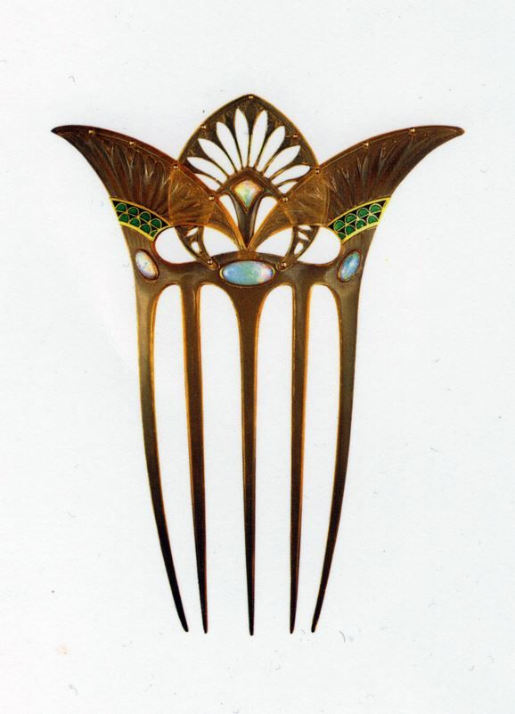 Georges Fouquet, 1862 -1957 | Hair Comb. Bone, wood, opal, gold, enamel circa  - 1900.