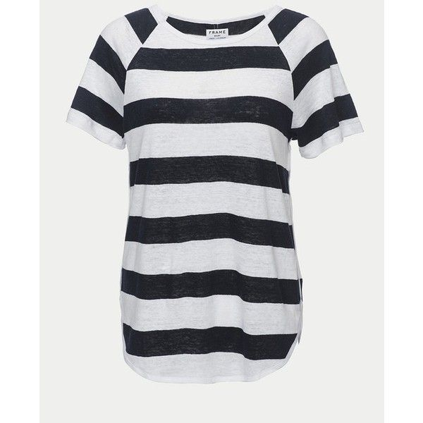 FRAME Dolphin Tee ($125) ❤ liked on Polyvore featuring tops, t-shirts, short-sleeve, short sleeve raglan tee, raglan long sleeve t shirt, raglan t shirt, stripe tee and linen t shirt