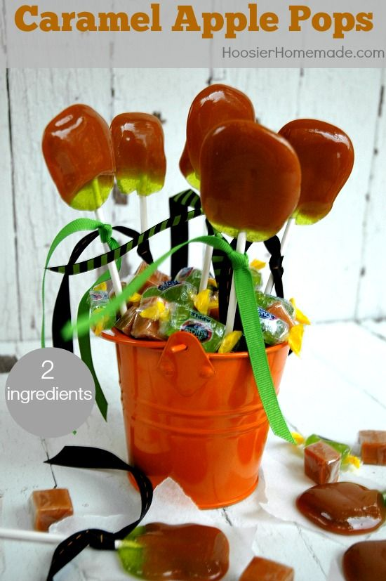 Homemade Caramel Apple Pops | Just 2 ingredients to make this delicious Fall Treat | Recipe on http://HoosierHomemade.com