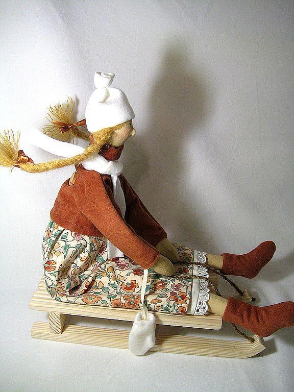 Купить Оленька на саночках - текстильная кукла, интерьерная кукла, тильда, фея, санки, санки деревянные