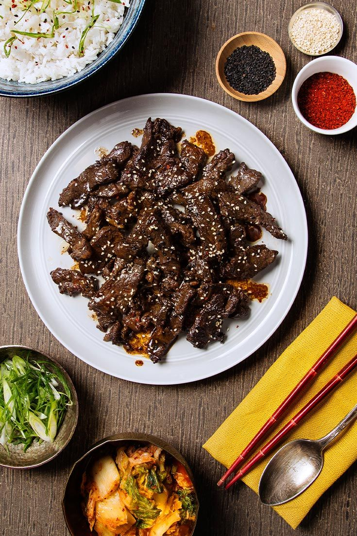 Meet bulgogi: the soy sauce-marinated steak that's served over rice for the ultimate Korean meal.
