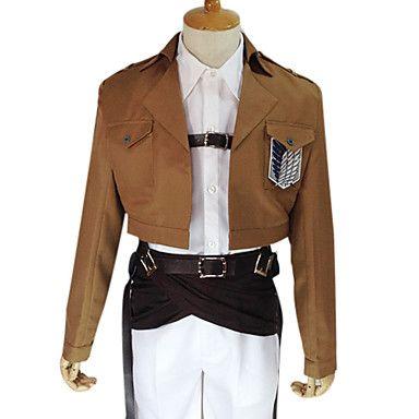 Inspiré par Attack on Titan Armin Arlert Anime Costumes de cosplay Costumes Cosplay Couleur Pleine Marron Manche LonguesManteau / Chemise - USD $ 69.99