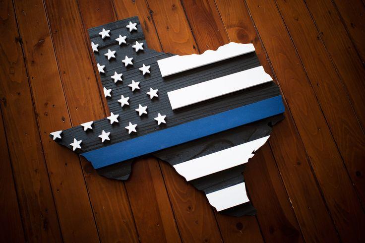 Thin Blue Line Texas Wood Flag