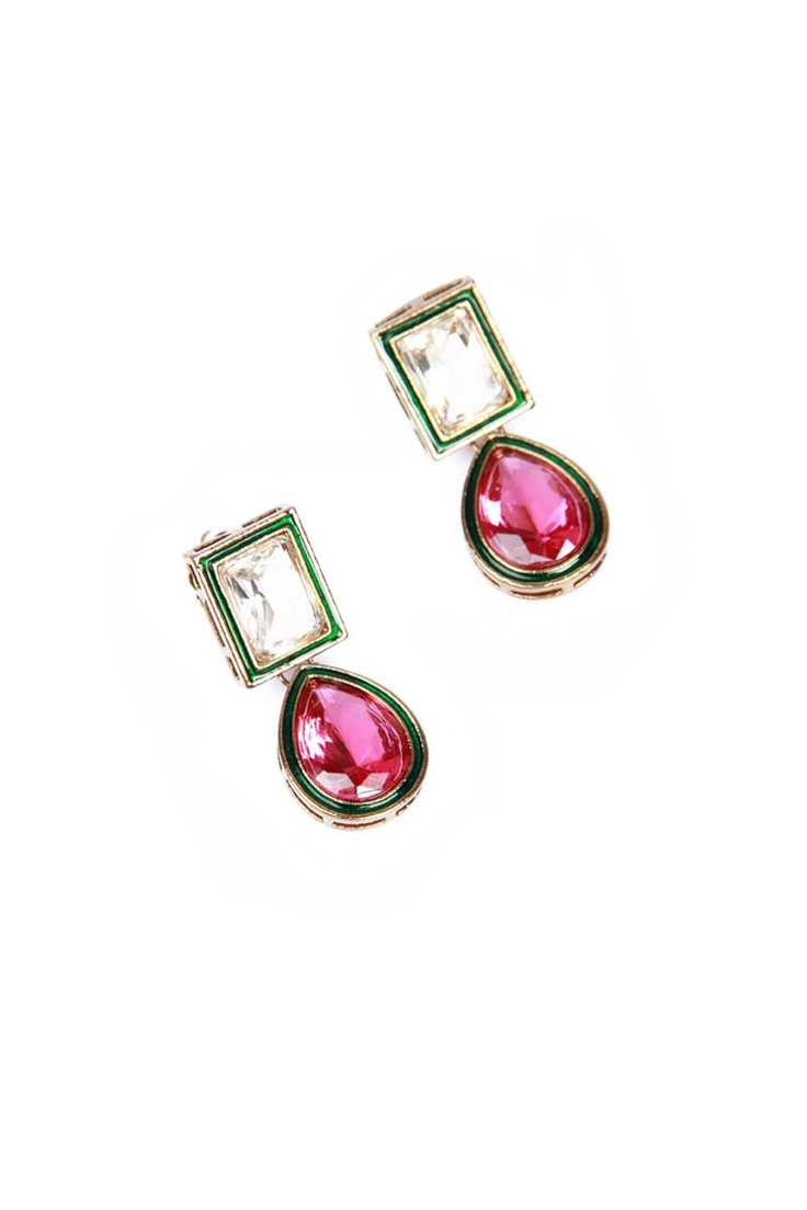 White/Pink Kundan Earring from Johharri on Brandsfever