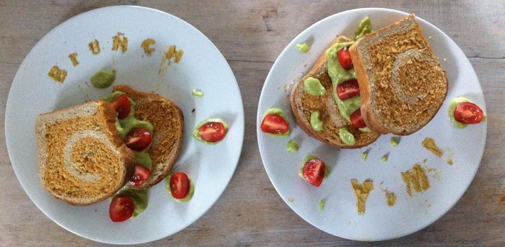 Brunch, Yum! My savoury tomato, rosemary, chilli & organic sunflower oil spelt swirl bread with avocado & lime puree. I made a 'brunch' 'munch' stencil from an old Stylist magazine and the sunday Times, cutting out the letters and dusting with ginger!