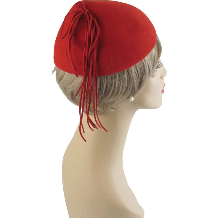 Vintage 1940s - 1950s Hat Red Wool Peaked Beret with Side ...