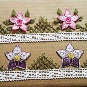 2 ayrı çiçek motif iğne oyası havlu kenarı