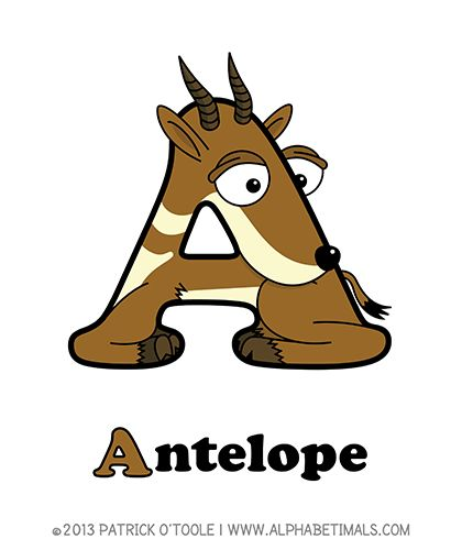 Antelope - Alphabetimals make learning the ABC's easier and more fun! http://www.alphabetimals.com