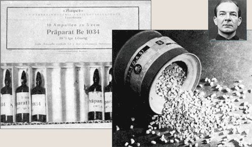 "The deadly medical experiments conducted in  concentration camps were contracted by Bayer's & Hoechst's pharmaceutical divisions. The ""drugs"" injected into tens of thousands of innocent inmates were previously untested chemicals (left) patented by Bayer & other IG Farben firms. Most of the victims died during these cruel experiments. Those who survived were frequently sent to the gas chambers. The pellets for the gassing – Zyklon B (right) – were provided by subsidiaries of IG Farben."