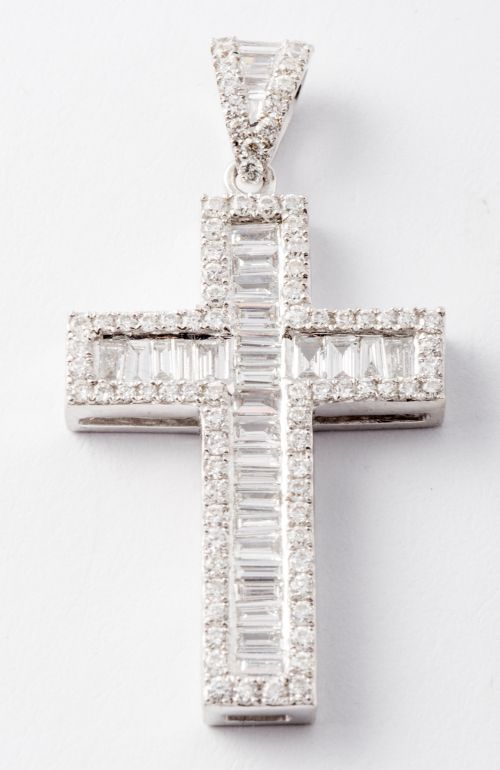 Baguette and round diamond cross in 18k white gold