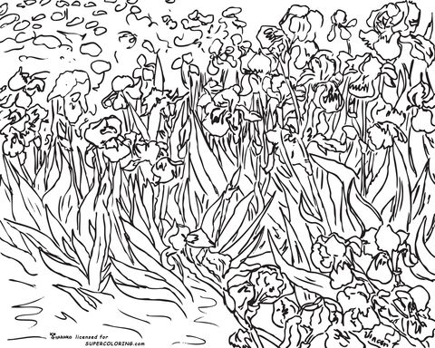 irises by vincent van gogh coloring page - Artist Coloring Page