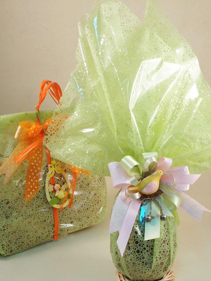 Idee e accessori confezioni colore verde primavera estate per bar e pasticcerie. Ingrosso online incarti per uova di Pasqua e colombe. Centinaia di complementi per decorazioni di ogni genere. Cellophan colorato e nastri decorati.