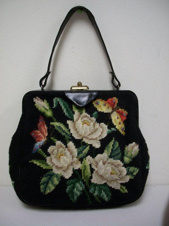 VTG 50s/60s French Bag Shop Black Floral Needlepoint Handbag