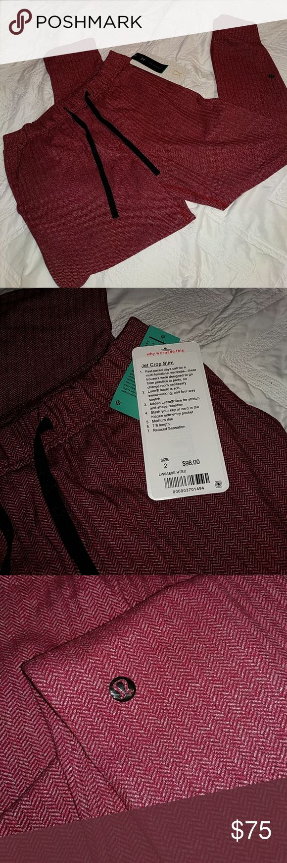 Jet Crop Slim Lululemon pants Brand new with tags. Midrise, 7/8 length lululemon athletica Pants Ankle & Cropped