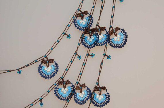 Etsy Transaction -          turkish lace - needle lace - crochet - oya necklace - free worldwide shipment with UPS - bahar-006-02