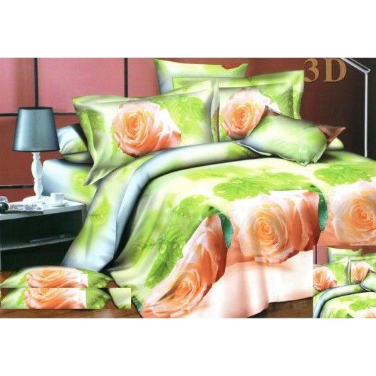 Posteľné návliečky zelenej farby s ružami
