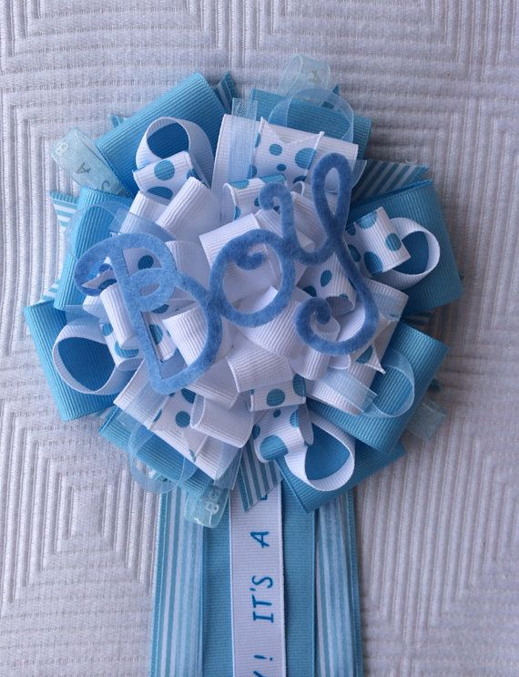 "Boy Baby Shower Corsage ""It's A Boy"" Blue  on Etsy, $18.00"