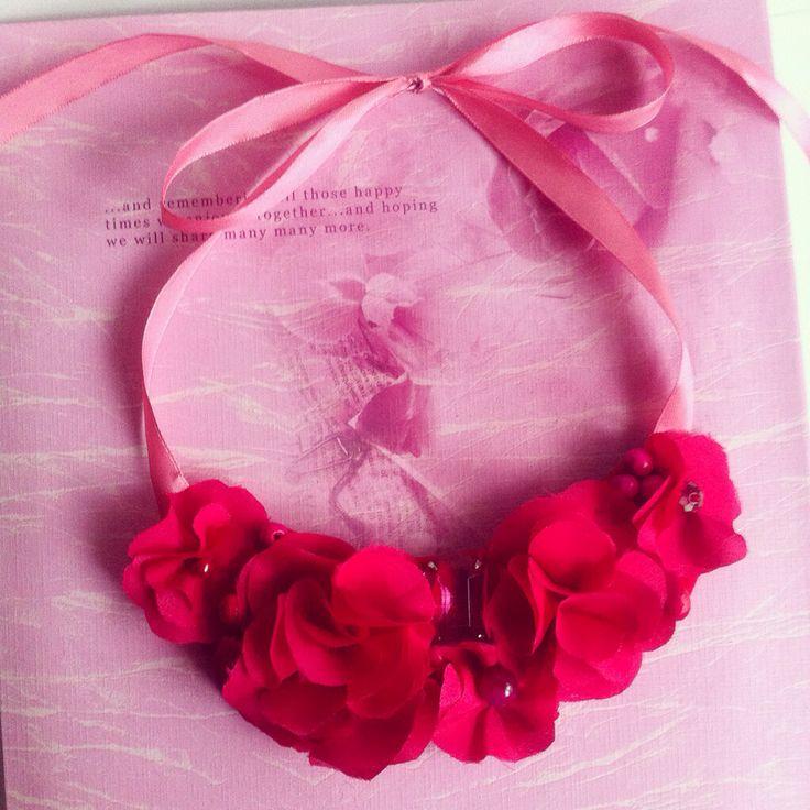 Handmade pink hydrangea fabric flower statement necklace