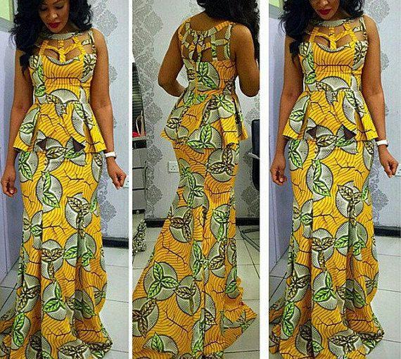 robe à imprimé africain péplum robe maxi par CoCoCremeCouturier