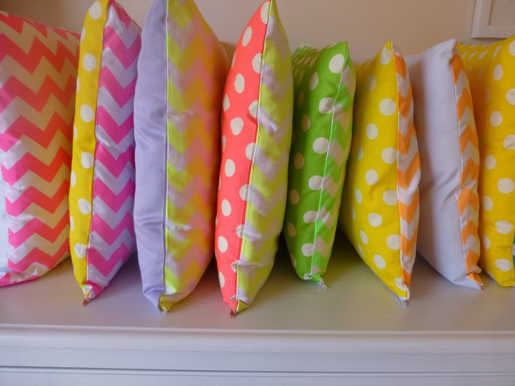 Riley Blake neon chevron cushions. Still some left on my Etsy site for sale. Get in quick!!