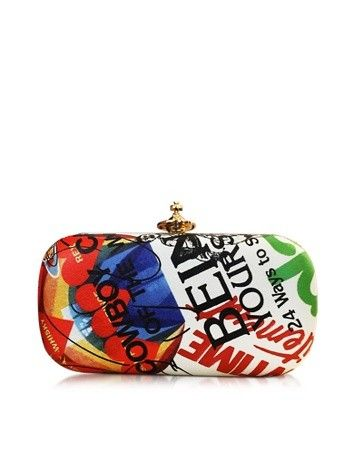 MEANINGLESS PRINT MULTICOLOR CLUTCH VIVIENNE WESTWOOD