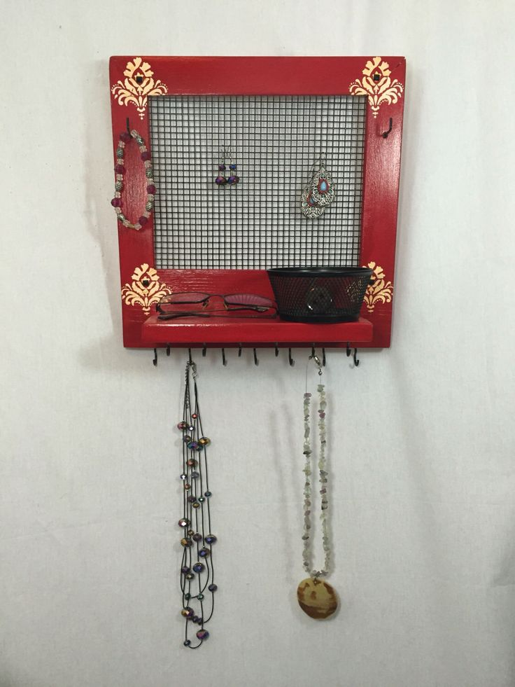 A personal favorite from my Etsy shop https://www.etsy.com/ca/listing/484301655/red-jewelry-holder-jewelry-frame-jewelry