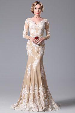 Schön V Schnitt Spitze Applikation Abendkleid Ballkleid Formal Kleid (02150614)