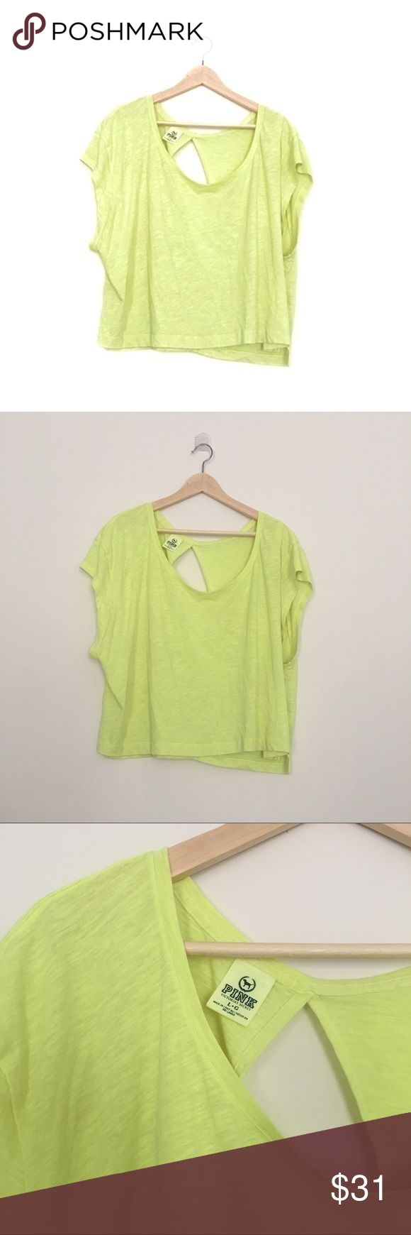 Pink VS neon yellow top Excellent flawless condition neon yellow top with opening in the back PINK Victoria's Secret Tops