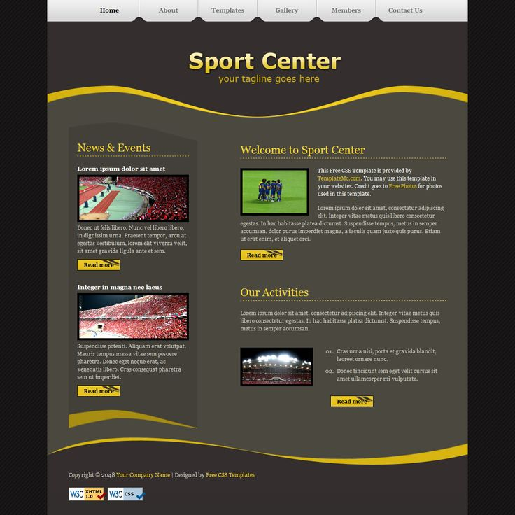 Sport Center is a simple and clean layout using yellow and olive colors.