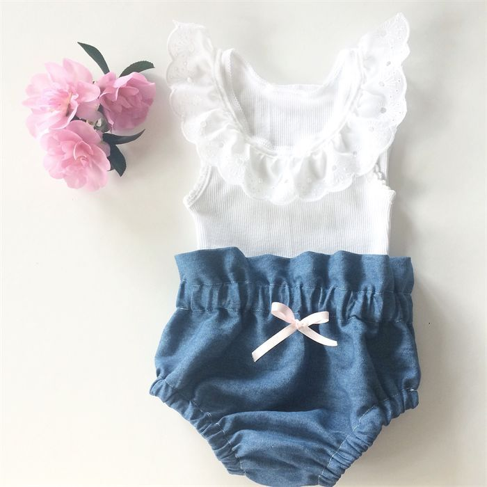 High Waisted Denim Bloomers and White lace tank – baby, girl, summer