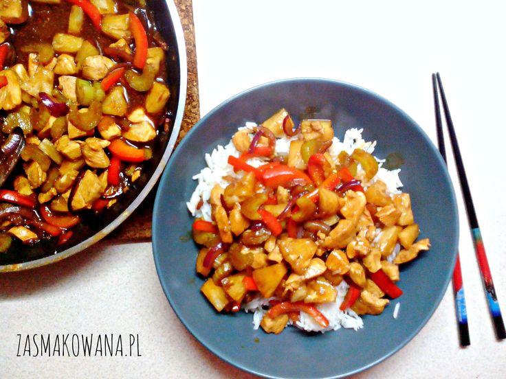 Kurczak z ananasem i selerem naciowym http://www.zasmakowana.pl/kurczak-z-ananasem-i-selerem-naciowym/
